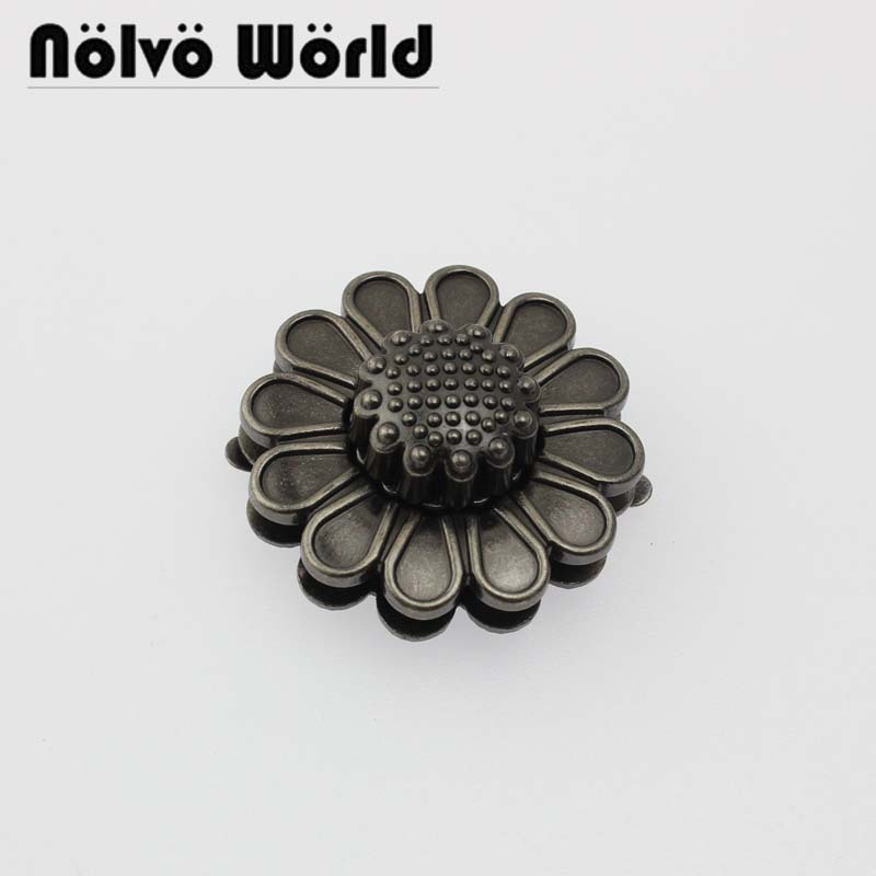 5-10-30pcs Old Antique Silver 40mm Flower Shaped Turn Twist Lock,craft Case Clasp Turn Lock Bag Purse Belt Twist Lock
