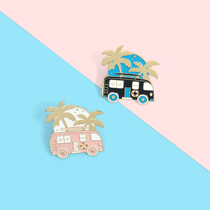 Cartoon Motorhome Travel Enamel Pins Recreational Vehicle Brooches Bag Adventure Button Badges Fun Jewelry Gift for Kids Friends