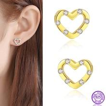 Exquisite earrings heart-shaped 925 sterling silver earrings for women zircon Korean simple small Stud earrings women's jewelry недорого