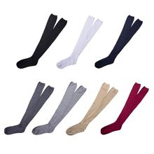 Women Girls Ribbed Knit Autumn Winter Over Knee Thigh High Stockings Preppy Style Opaque Stretchy Solid Color Long Socks