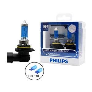 Image 3 - 필립스 H1 H4 H7 H11 9005 9006 12V 크리스탈 비전 4300K 밝은 흰색 빛 할로겐 자동차 헤드 라이트 안개 램프 + 2x T10 전구, 쌍