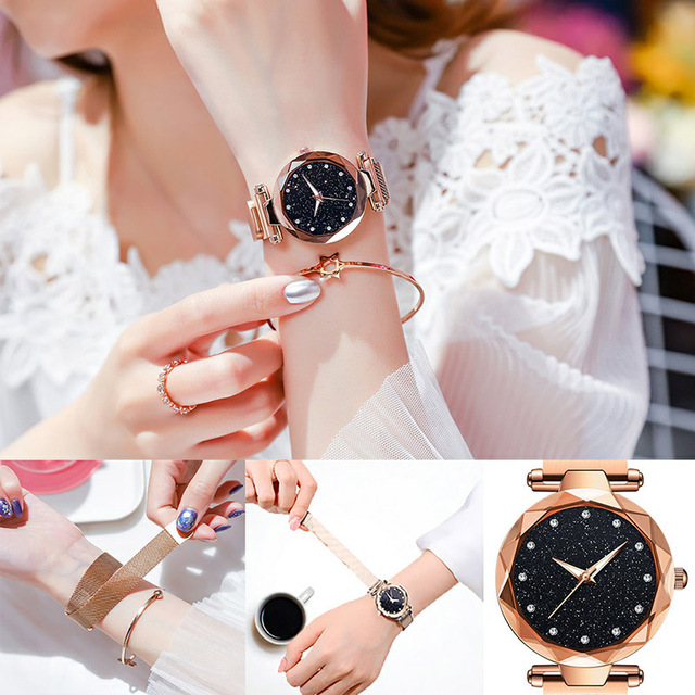 Luxury Women Watches Ladies Magnetic Starry  1