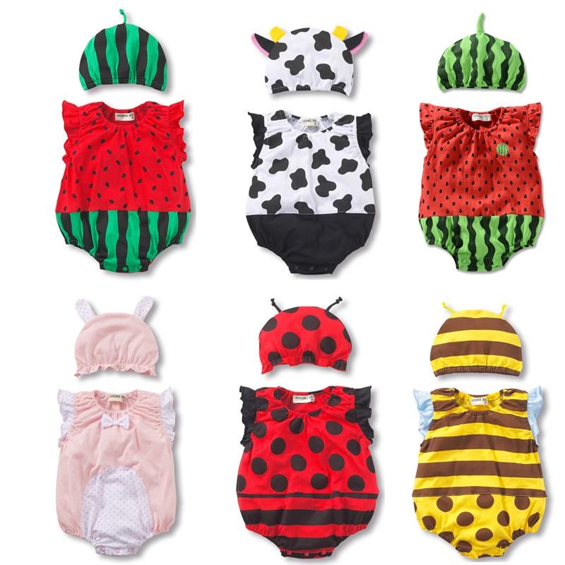 Baby Bodysuit + Hat Summer Baby Boy Girls Watermelon Strawberry Ladybug Jumpsuit Cotton Infant Toddler Costumes Sleeveless