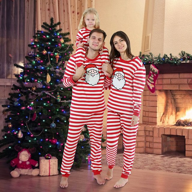 Christmas Family Pajamas Set Christmas Clothes Parent-child Suit Home Sleepwear Cotton Baby Kid Dad Mom Matching Family Outfits 5