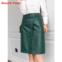 Women Lace-up Genuine Leather Skirt Female Winter Pure Sheep Skin Knee Length Saias With