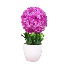 Greeting Pine Cherry Blossom Ball Potted Artificial Flower Bonsai Office Desktop Decoration Home Fake Flowers Decor Hot Sale