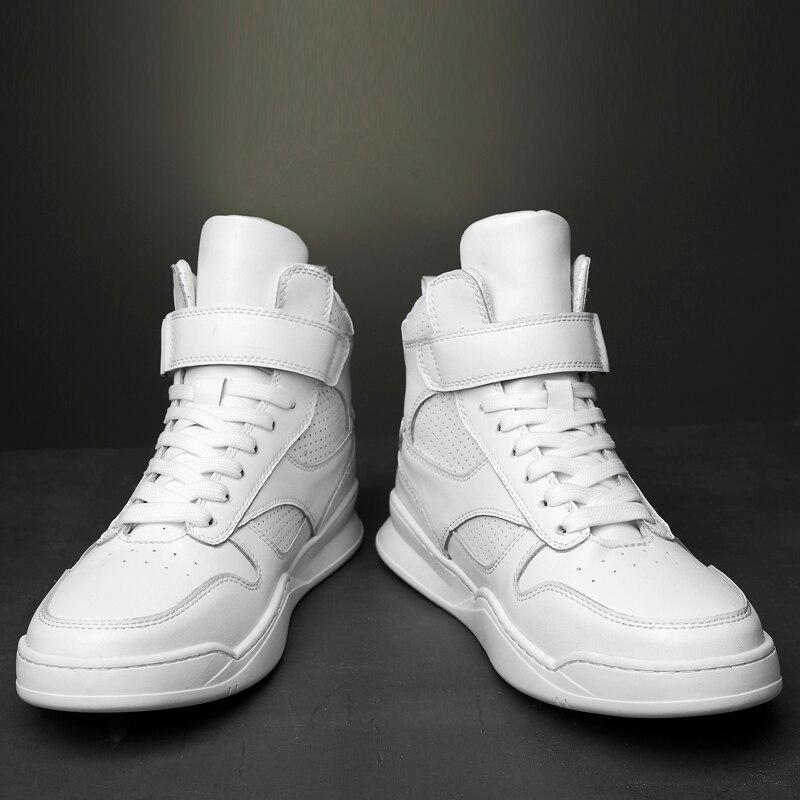 2019 г. Осенне зимняя мужская обувь повседневная мужская обувь из натуральной кожи на плоской подошве, кроссовки с высоким берцем, черная и белая обувь мужская обувь на платформе - 2