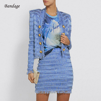 Blue Tassel 2 Two Pieces Set Bandage Women Winter Dress Sexy V Neck Button Long Sleeve Crop Top Mini Skirt Nightclub Party Dress