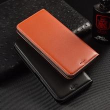 Litchi Texture Genuine Leather Wallet Magnetic Flip Cover For Motorola Moto P30 P40 P50 One Power Vison 2 Case