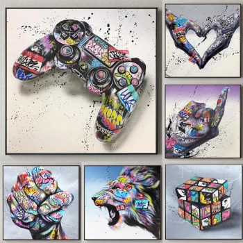 Graffiti Art Gamepad Canvas Art Posters and Print Abstract Game Handle Canvas Paintings on The Wall for Kid's Room Decor Picture 1