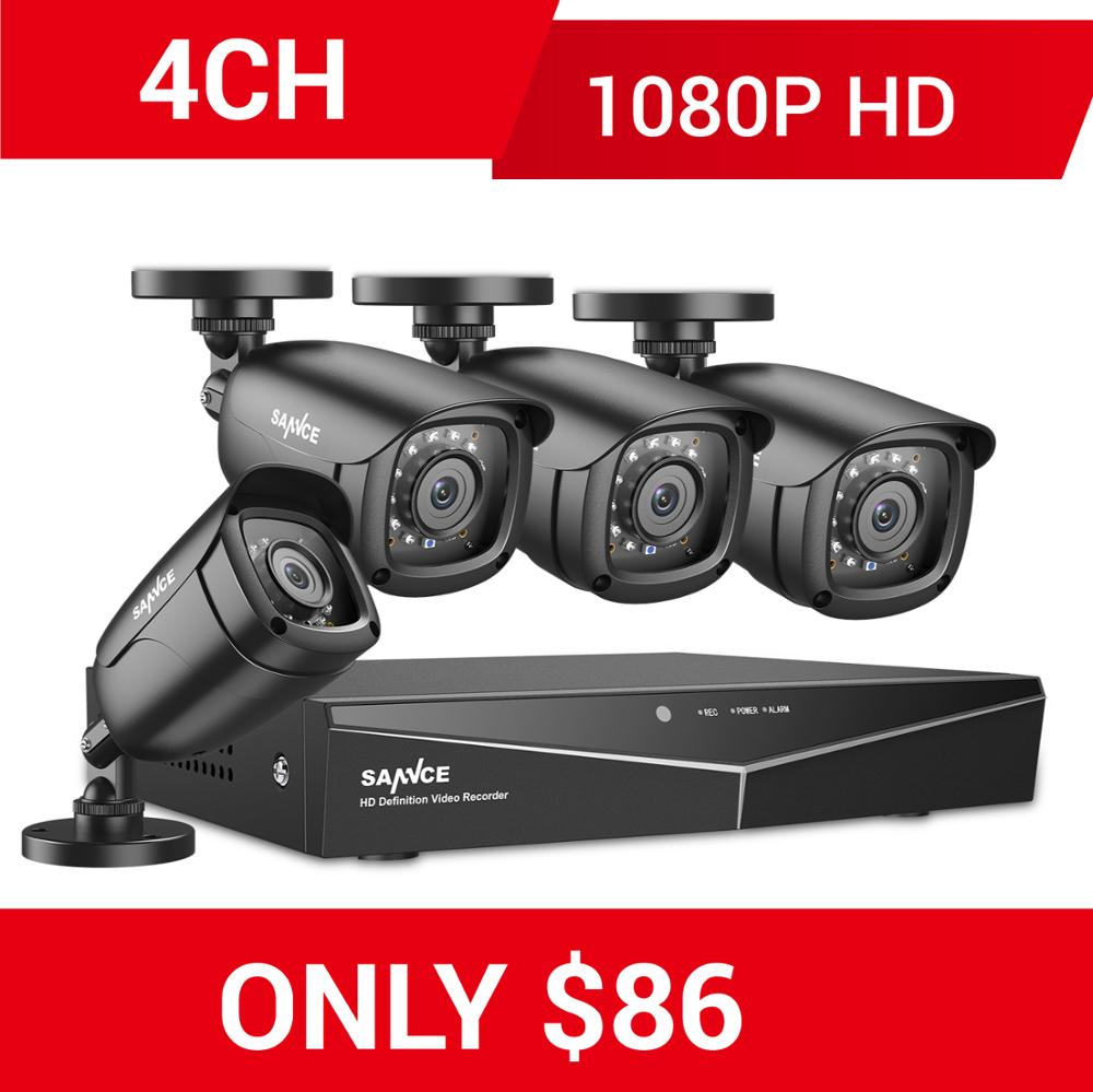 SANNCE RU Clearance 1080P 4CH Security CCTV System 4PCS 1080P Outdoor Weatherproof Camera Home Video Surveillance Camera Kit