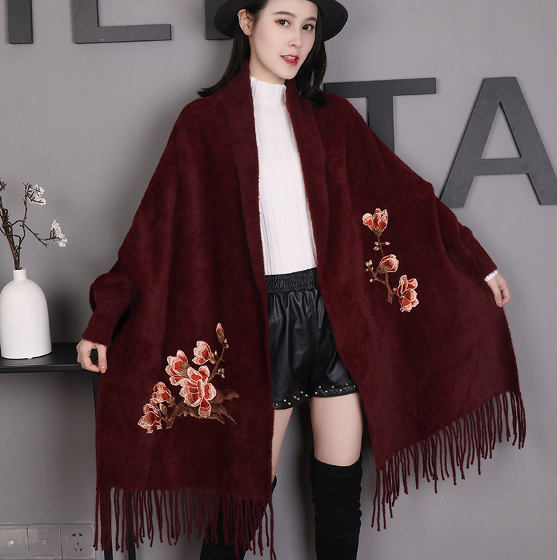 2020 New Embroidery Flower Bufanda Imitation Mink Women Shawls Scarves Burgundy Wrap Warm Pashmina Echarpes Ultra Long Muffler