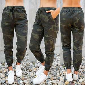 Loose Trousers Cargo-Pants Women Clothes Waist Camouflage-Print Green High-Elastic Casual