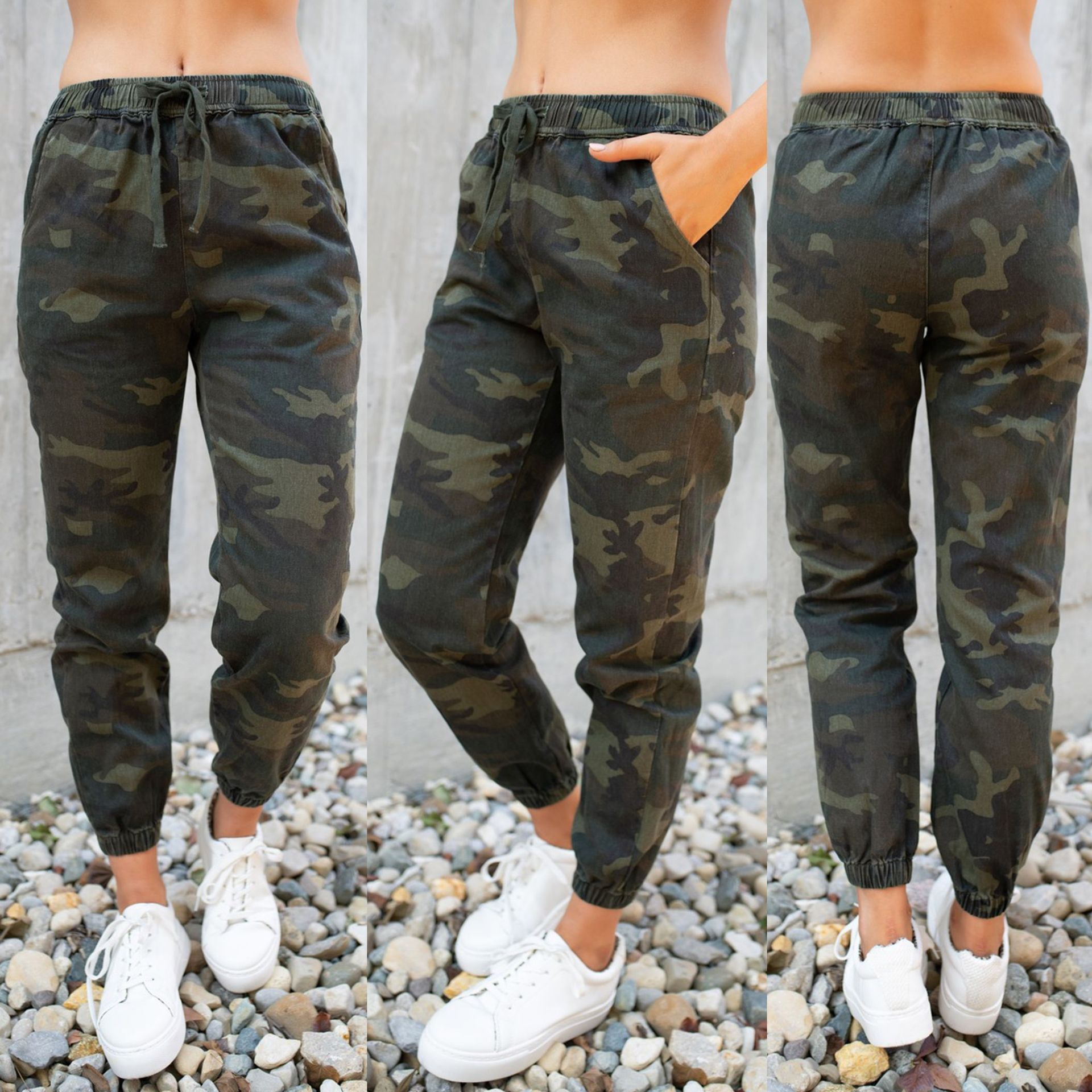 2019 Green Camouflage Print High Elastic Waist Full Length Camo Cargo Pants Women Clothes Sweatpants Casual Loose Trousers