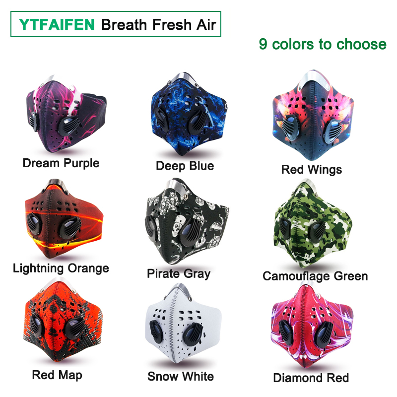 Cycling Men/Women Activated Carbon Dust Airsoft Tactical Face Mask Anti-Pollution Bicycle Bike Outdoor Training mask Face Shield 1