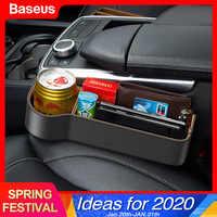 Baseus assento de carro gap organizador couro assento automático fenda enchimento caixa armazenamento para cartão copo acessórios do carro titular bolso organizador