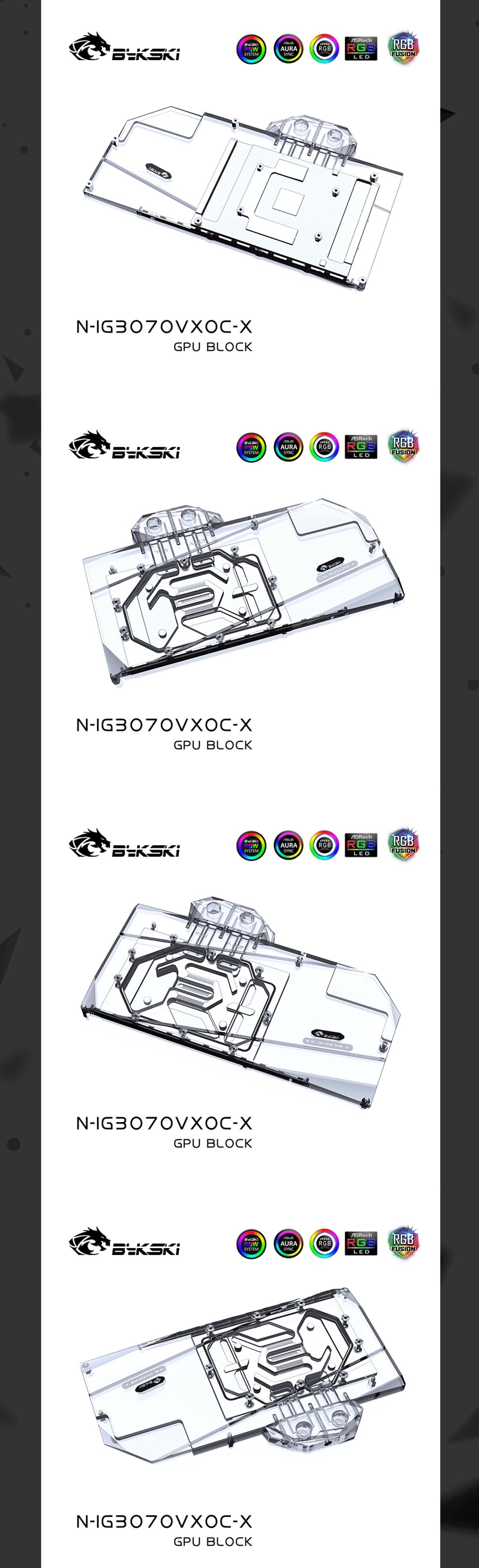 Bykski GPU Water Block N-IG3070VXOC-X , For Colorful RTX 3060TI /3070 Ti Vulcan Neptune GPU Card , Radiator Water Cooling Liquid