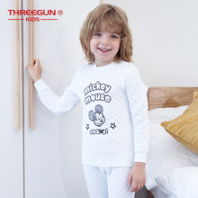 THREEGUN KIDS X Disney Mickey Mouse Thermal Underwear Kids Long Johns Boys Winter Clothes Childrens Clothing Nightwear