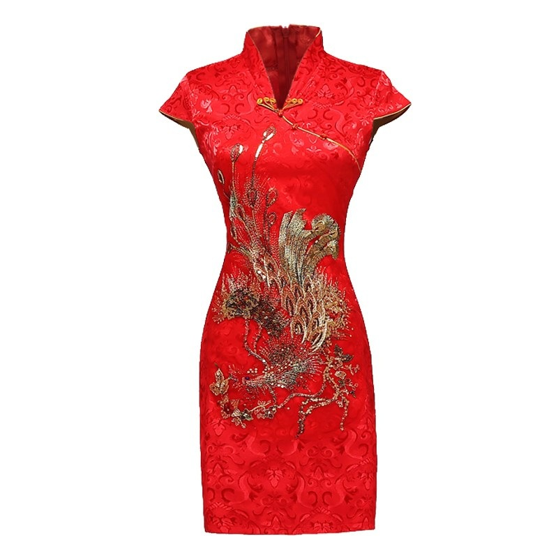 20182018 New Style Bride Dress For Toast Autumn Red Marriage Cheongsam Slim Fit Chinese Style Formal Dress Short