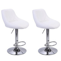 [US W]2pcs Adjustable High Type with Disk No Armrest Rhombus Backrest Design Bar Stools White
