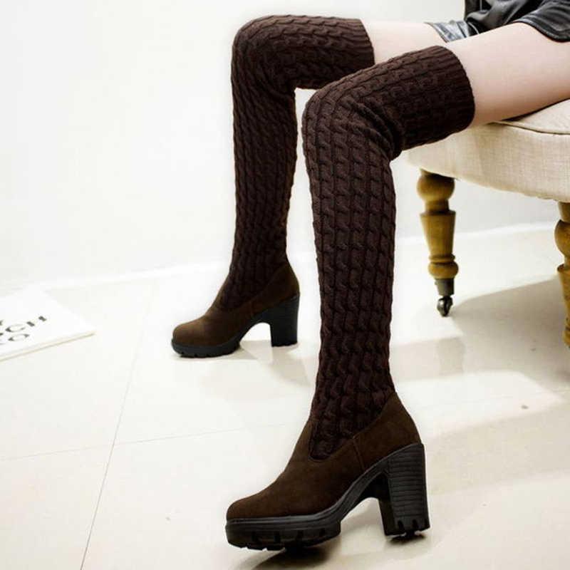 รองเท้าสตรี 2019 ฤดูใบไม้ร่วงฤดูหนาวต้นขาสูงรองเท้าสำหรับรองเท้าผู้หญิงถักผ้าขนสัตว์ยาวผู้หญิงสีน้ำตาล/สีดำรองเท้าสุภาพสตรีรองเท้า