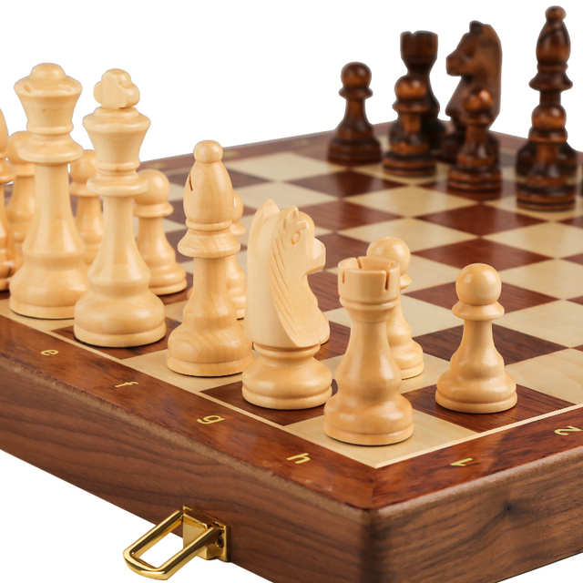 Buy Best Chess Set Top Grade Wooden Folding Big Traditional Classic Handwork Solid Wood Pieces Walnut Chessboard Children Gift Board Game