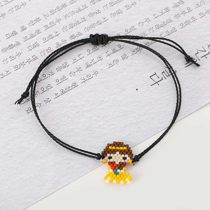 G. YCX Delica Miyuki Cartoon księżniczka bransoletki dla kobiet lato plaża wosk przewód bransoletka przyjaźni dzieci pleciony Bileklik biżuteria