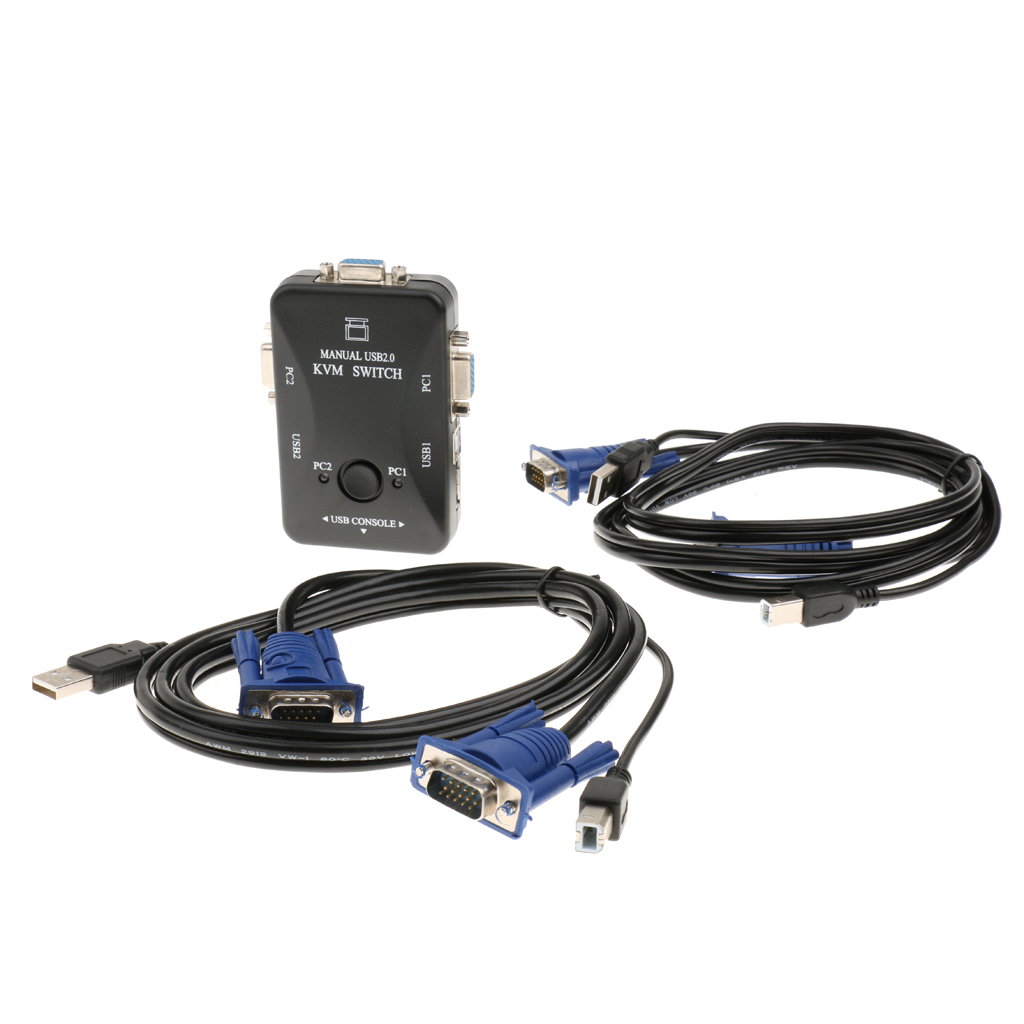 2-Port USB VGA KVM Switch Box+Cables For Computer Sharing Monitor Keyboard Adapter Plug And Play Universal Fit