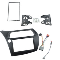 For Honda Civic Double Din Fascia Radio Dvd Stereo Cd Panel Dash Mounting Installation Trim Kit Face Frame Bezel with Wire Harne