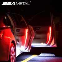 Coche 12V Luz de puerta Universal Auto Borde de puerta lámpara estroboscópica 120cm Flexible LED decorativo tiras de advertencia de seguridad nocturna lámpara Accessori