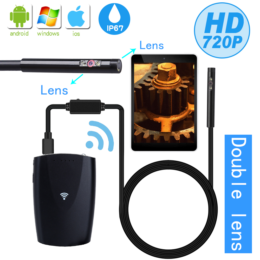 Dual Lens 6mm Endoscope Wifi Pipe Camera Borescope IP67 Waterproof Wireless Inspection Flexible Snake Camera for Android iphone