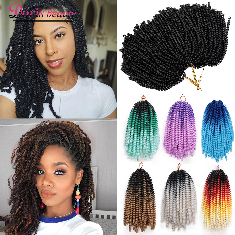 Spring Twist Hair Crochet Braids Ombre Braiding Hair 8 Inch Synthetic Hair Extensions Passion Twists Fluffy Rainbow Color