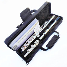 YFL-471 Flute Professional Cupronickel Opening C Key 17 Hole Flute Silver Plated Musical Instruments With Case and Accessories high quality flute silver plated 16 closed holes c key flute with bag popular musical instruments