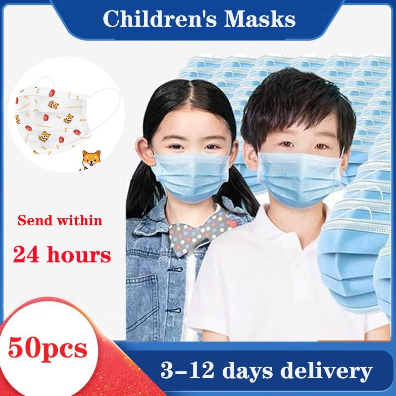 Child Kids Mask 100Pcs  Boy Mask 3-Ply Girls Face Mask N95 Nonwoven Disposable Children Mask Children Face Mask