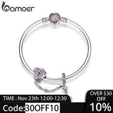 BAMOER véritable 925 en argent Sterling amour clé coeur forme Bracelets Bracelets pour femmes violet Zircon Valentine cadeau bijoux SCB820