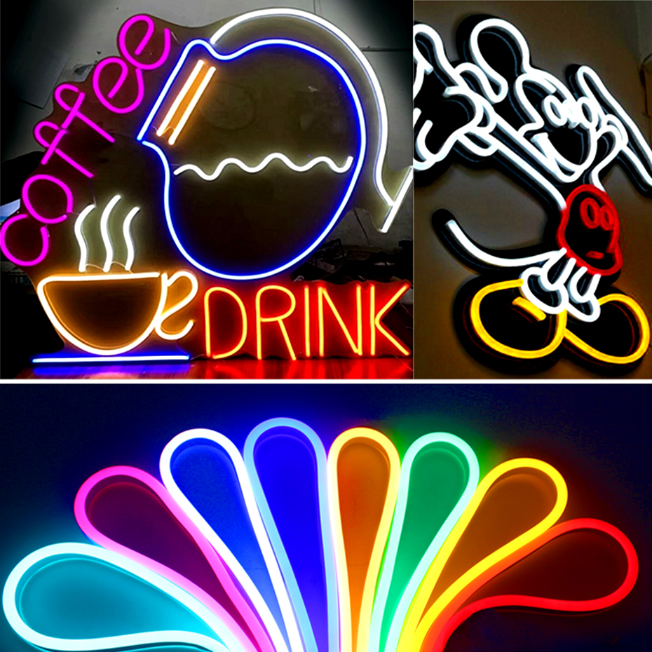 Dimmable Set  12V Flexible LED Strip Neon US /EU Rubber Waterproof  Bar Light Round Led Neon Flex String With Power SupplyD4