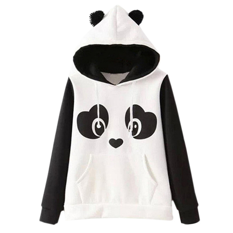 Europe Hippie Style Kawaii Women Hoodies Sweatshirts Panda Cartoon Printed Sweatshirts Women With Ears Hoody Casual Cute Hoodies