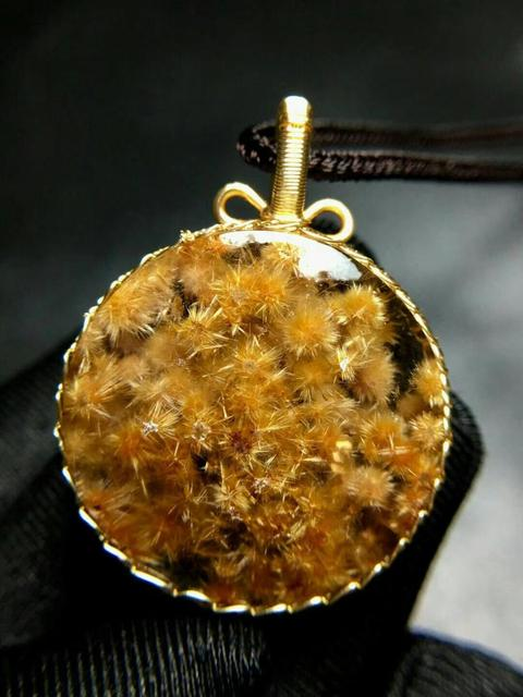Natural Gold Rutilated Quartz Pendant Flower Pendant Titanium 29*9.5mm Crystal Stone 14K Gold AAAAA