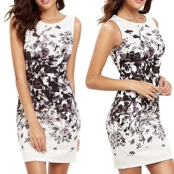Womens Summer Trend Casual Sleeveless Flower Bodycon Party Short Mini Dress Above Knee,  Sexy & Club summer slim halter print dress women casual sleeveless ruffles above knee mini floral dress 2020 new