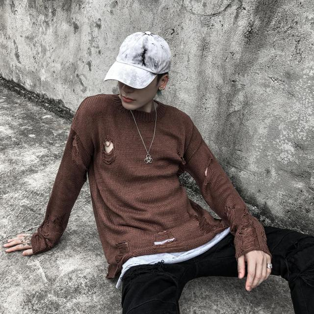 Black Red Striped Hole Knit Sweaters Autumn Winter Sweater Fashion Loose Long Paragraph Oversized Men Women All-match Clothing 4