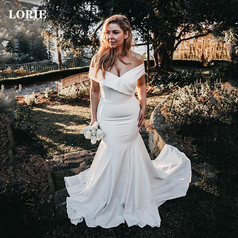 LORIE Satin Wedding Dresses Off The Shoulder Mermaid Bride Gown Vestido De Novia Boho Wedding Gowns