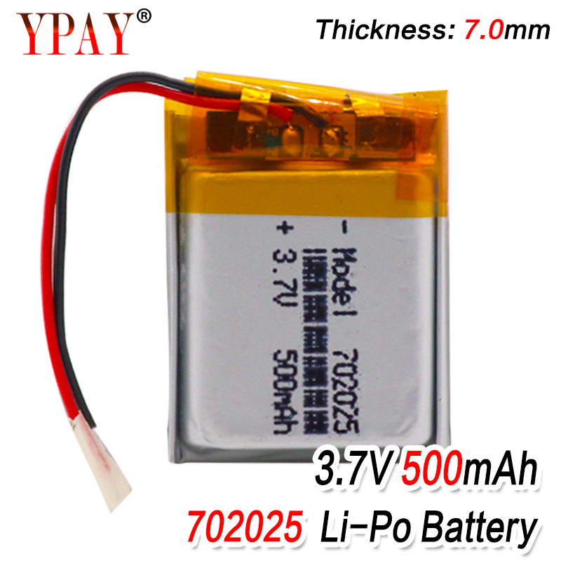 3.7V 500mAh 702025 Li-polymer Rechargeable Battery for Mp3 Bluetooth headset speaker video recorder wireless mouse Li-ion cells(China)
