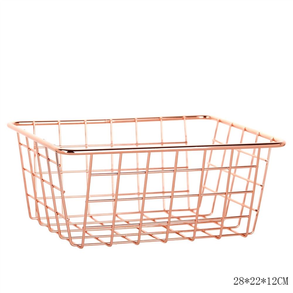 Nordic Style Rose Gold Metal Wire Storage Basket Cosmetic KitchenOrganizer Holder Toiletry Collection Bathroom Shelf|Storage Baskets|   - AliExpress