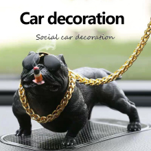 Car Network Red Bully Dog Center Console Personality Creative Social Decoration On The Supplies Small Ornaments