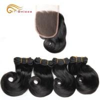 Double Drawn Funmi Hair Bundles With Closure Curl 8 Inches 100% Human Hair weave Brazilian Remy Hair Extension T1B 27 30 BG