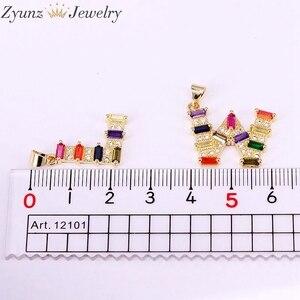 Image 4 - 10 PCS, Arcobaleno Colorato CZ Micro pavimenta Lettera Intitial della collana di Colore Delloro Cubic Zirconia Fascino Del Pendente Collana di Dichiarazione