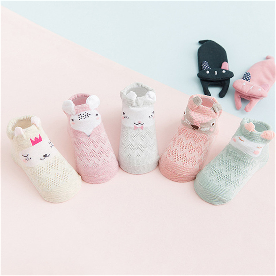 5 Pairs/lot Summer Mesh Socks For Newborns Baby Cute Cartoon Socks For Girls Thin Soft Cotton Boy Child Socks Infants