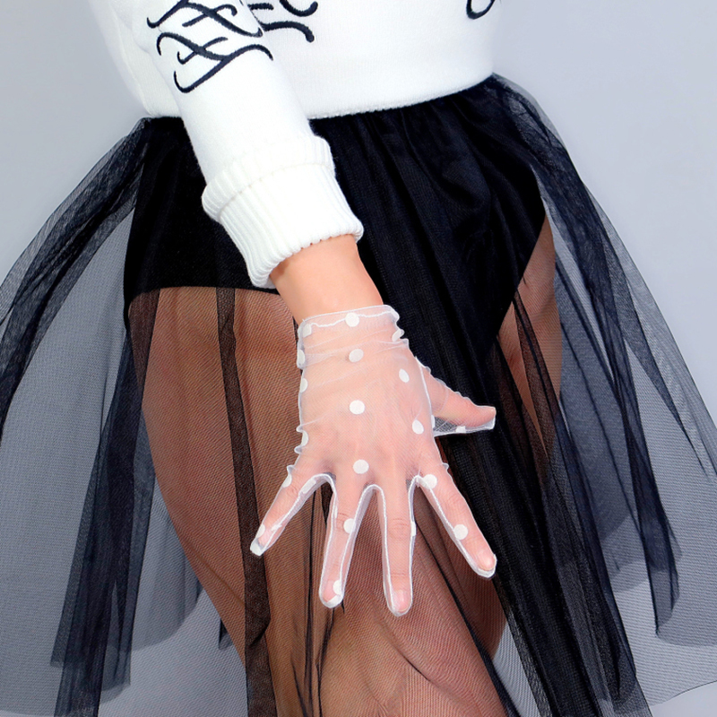 LACE SHORT GLOVES Big Polka Dot Tulle Mesh Semi Sheer Touchscreen TECH White Women Evening Gloves WLS10