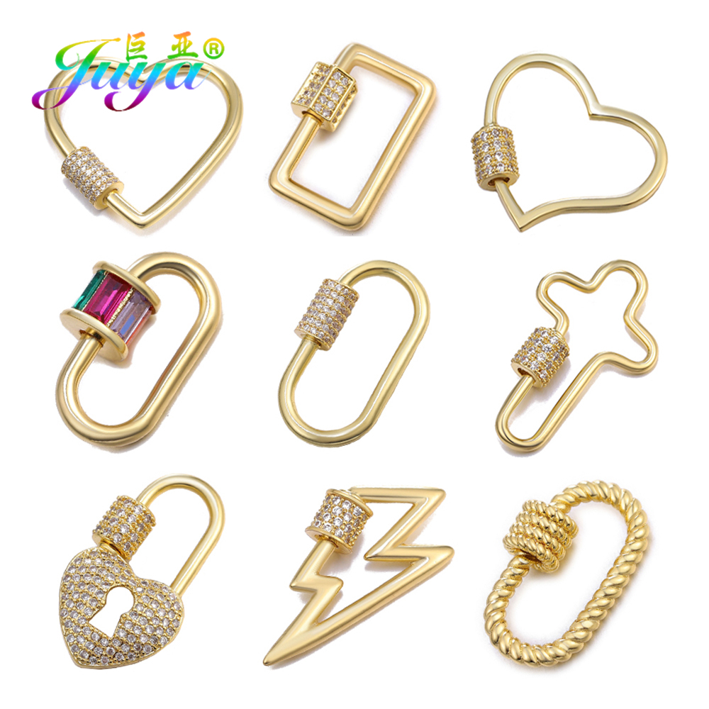 Juya DIY Pendant Spiral Clasps Jewelry Making Supplies Creative Screw Clasps Accessories Handmade Jewelry Gold Silver Components
