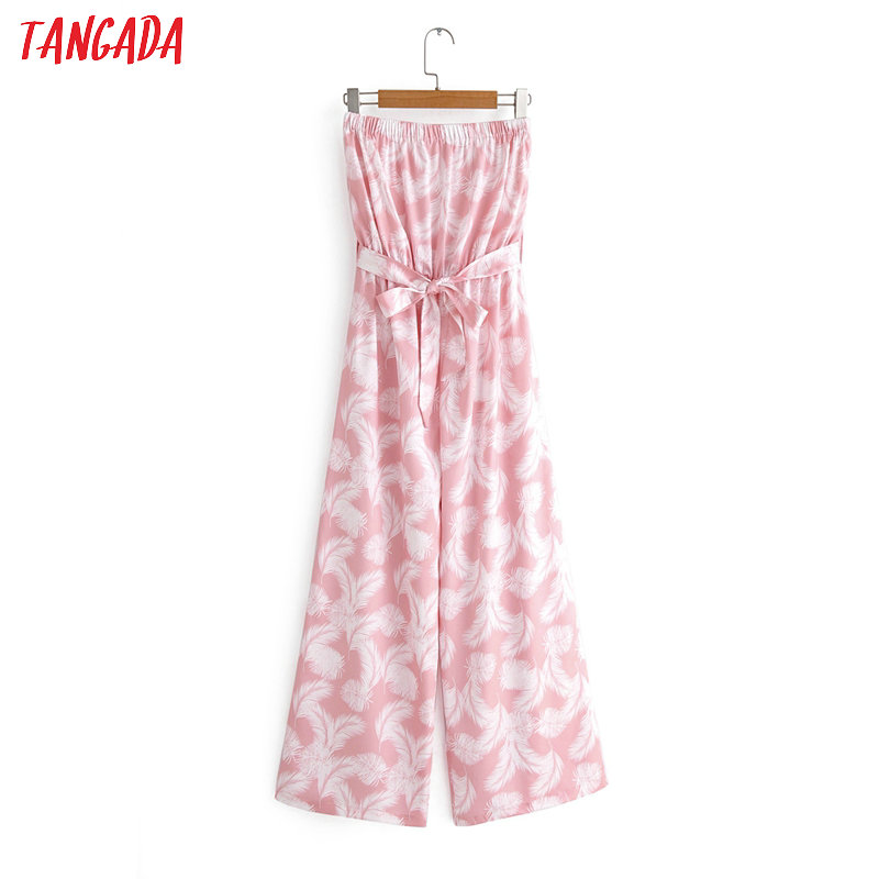 Tangada Women Summer Feather Print Pink Long Jumpsuit Strapless Female Casual Jumpsuit With Slash 1F160